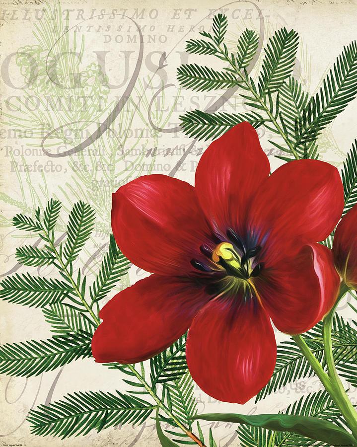 Amaryllis Painting - Vintage Noel IIi by Katie Pertiet
