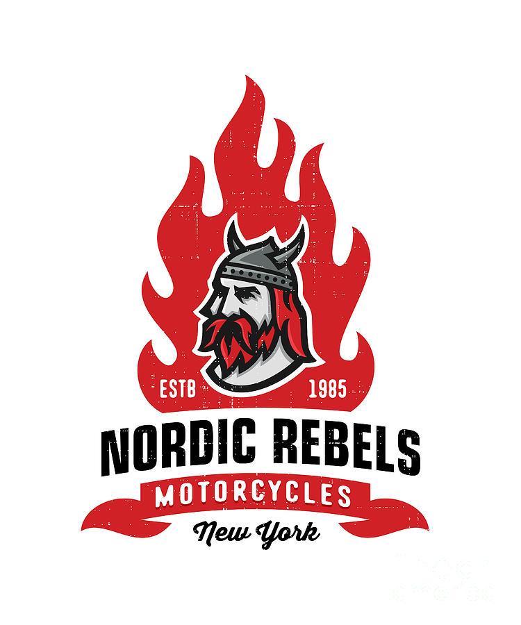 College Digital Art - Vintage Nordic Rebels Motorcycles by Tortuga