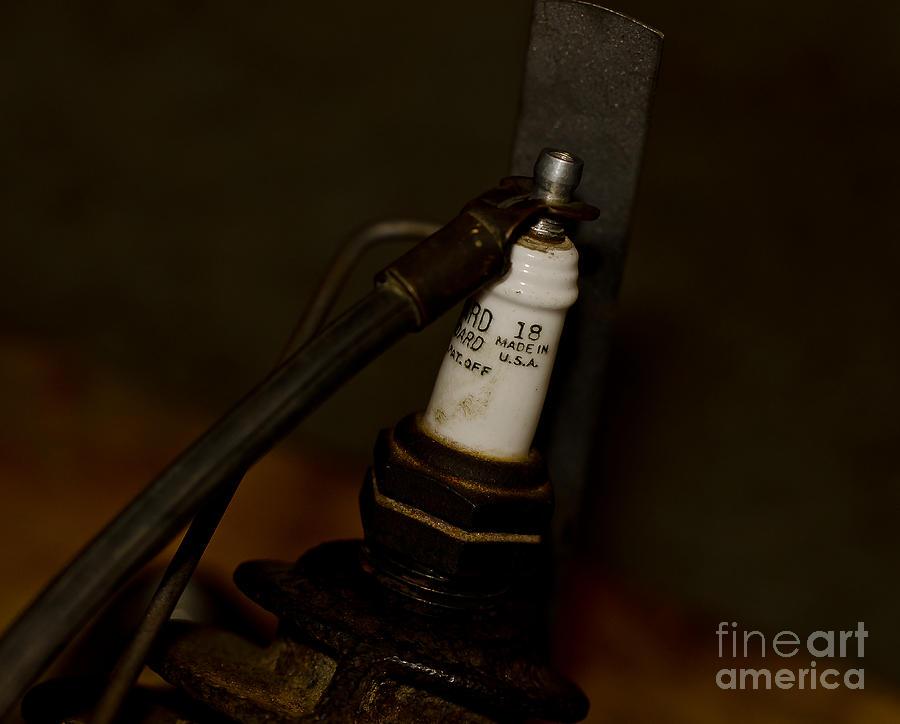 Damaged Photograph - Vintage Number 18 Spark Plug by Wilma  Birdwell