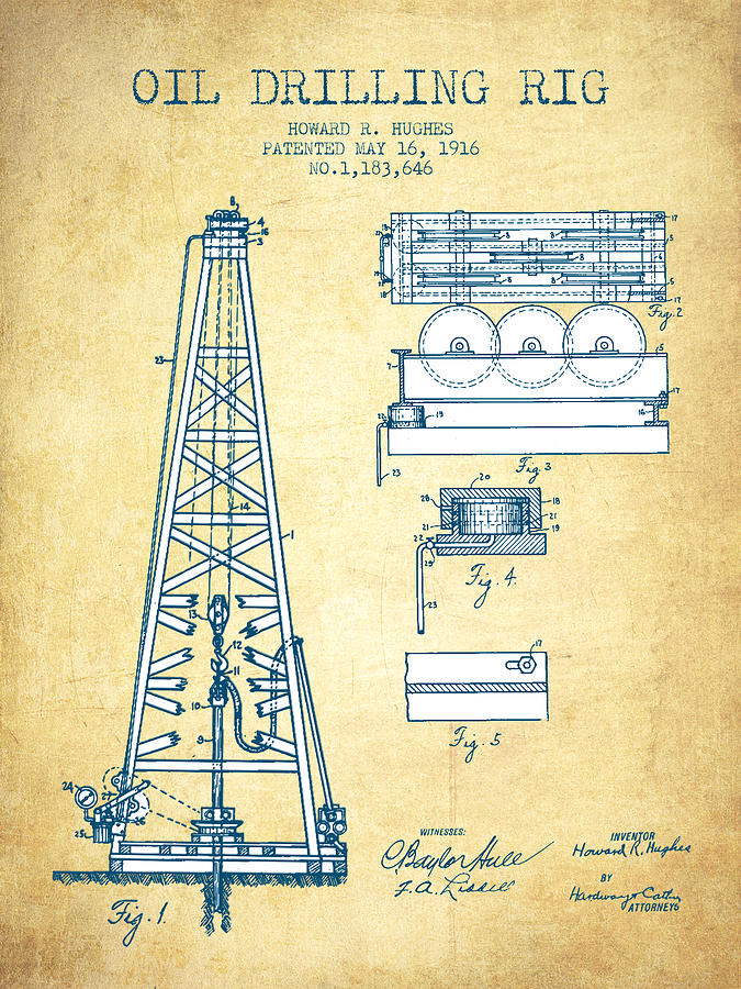 Oil Rig Drawing - Oil Drilling Rig Patent From 1916 - Vintage Paper by Aged Pixel