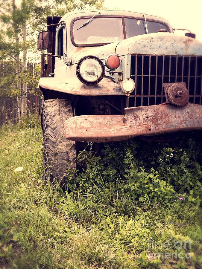 Truck Photograph - Vintage Old Dodge Work Truck by Edward Fielding