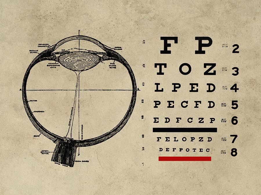 Vintage Ophthalmologist Eye Chart Digital Art By Flo Karp