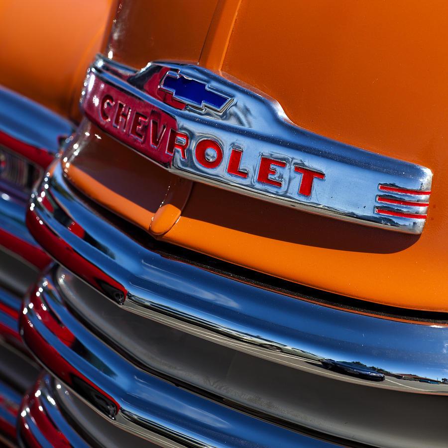 Antique Photograph - Vintage Orange Chevrolet by Carol Leigh