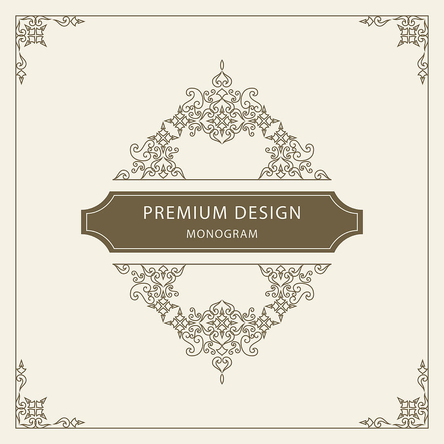 Vintage Ornament Greeting Card Vector Template Retro Luxury Invitation Royal Certificate Flourishes Frame Vector Background
