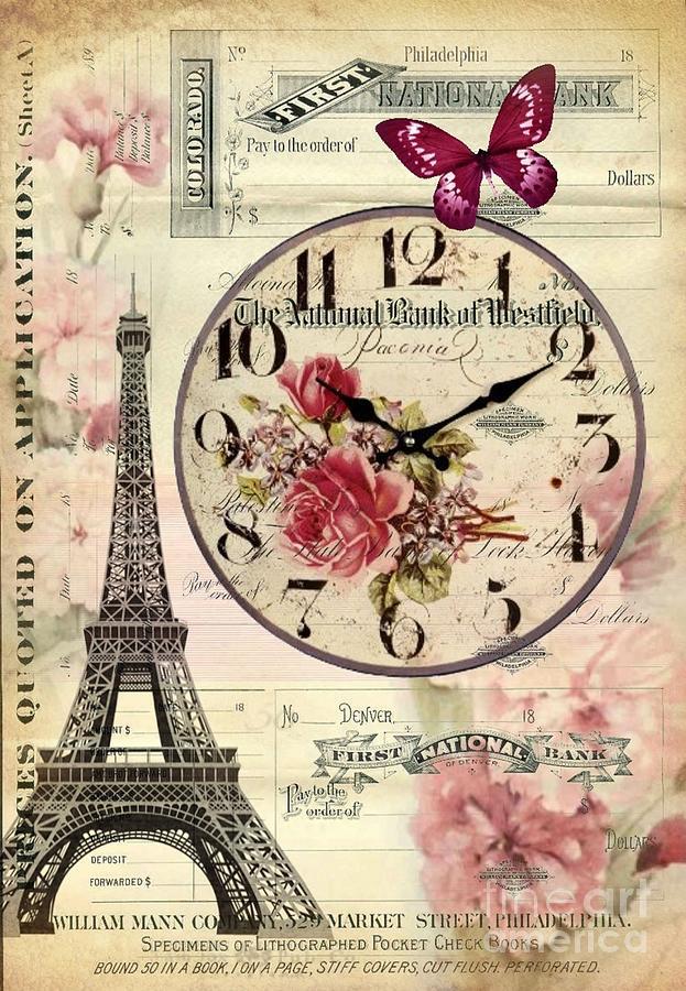 Vintage Paris Butterfly Antique Clock Digital Art By