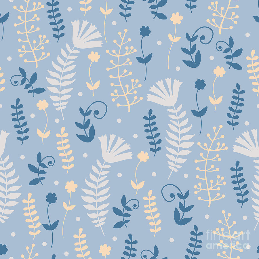 Color Digital Art - Vintage Pattern With Floral Motifs by Yudina Anna
