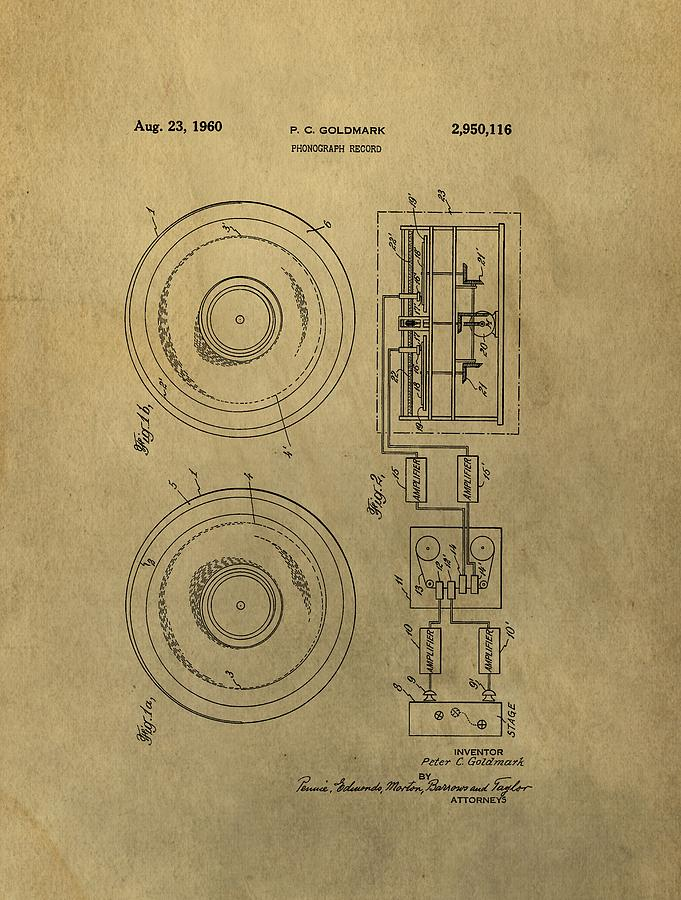 Vintage Patent Drawing - Vintage Phonograph Patent Illustrattion by Dan Sproul
