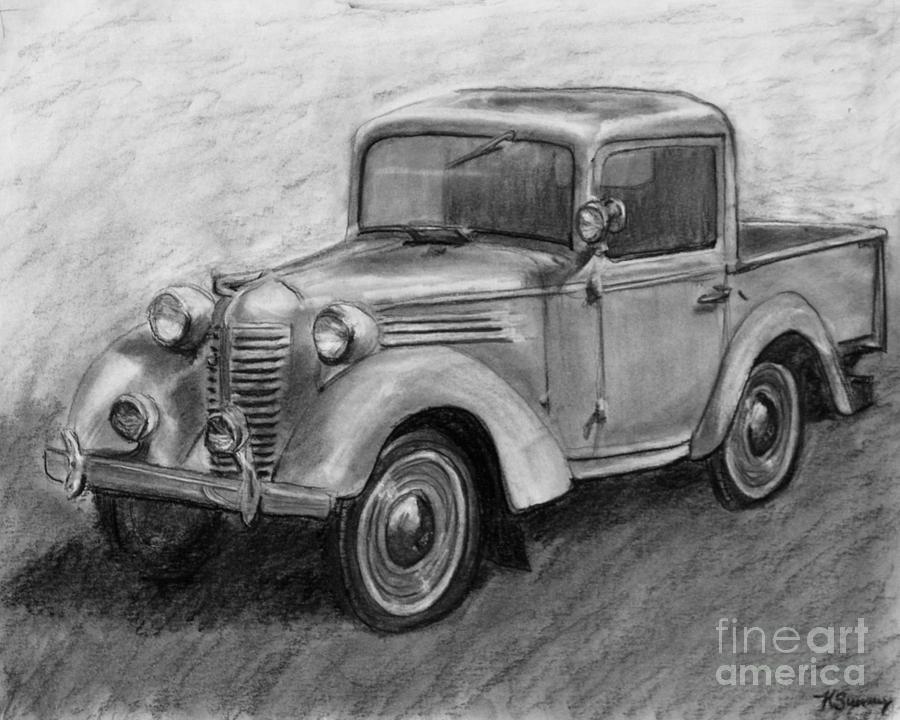 Vintage Pick Up Truck American Bantam Drawing by Kate Sumners