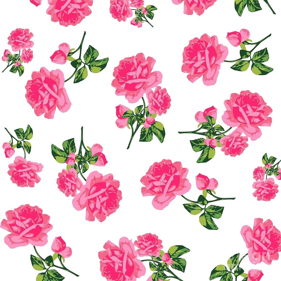 Vintage Pink Rose Flower Pattern Drawing By Li Or