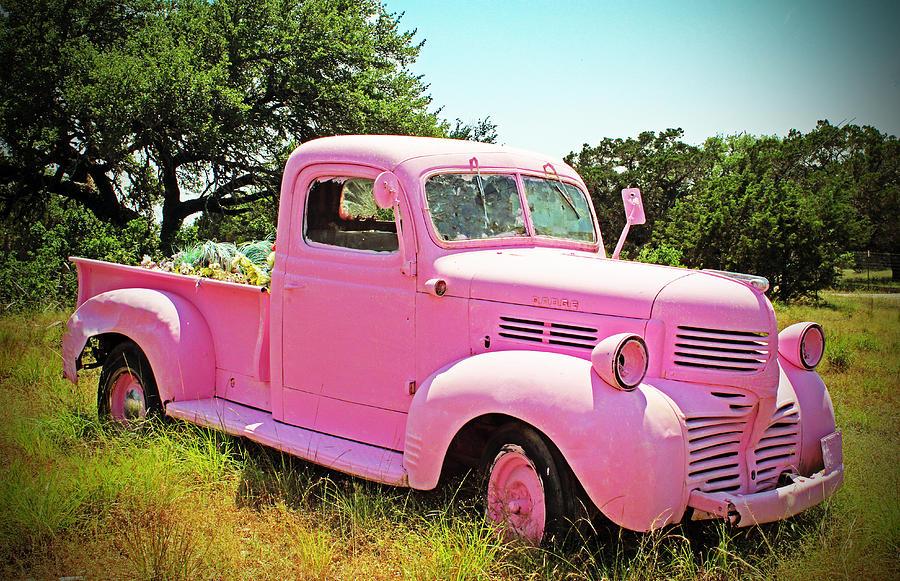 Vintage Pink Truck Photograph By Brooke Fuller