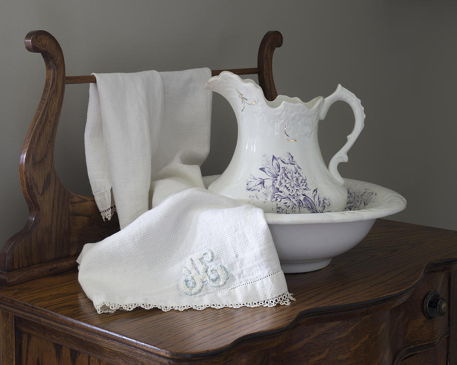 vintage pitcher with basin with monogrammed towel photograph by mm anderson