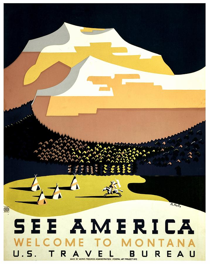 United States Photograph - Vintage Poster - Montana by Benjamin Yeager
