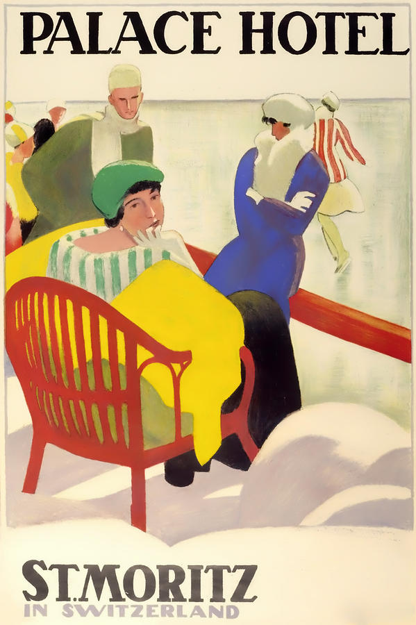 Palace Hotel Drawing - Vintage Poster 1936 by Mountain Dreams