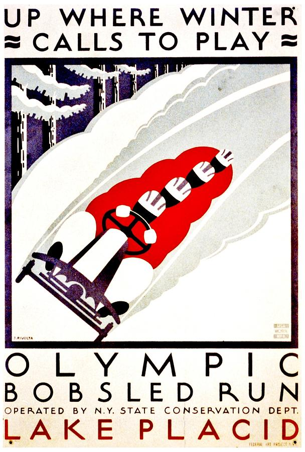Vintage Poster - Lake Placid Bobsled Photograph by Benjamin Yeager