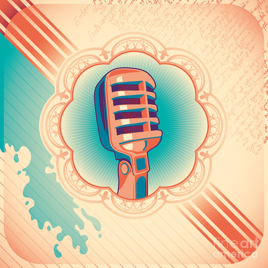 Play Digital Art - Vintage Poster With Microphone. Vector by Radoman Durkovic