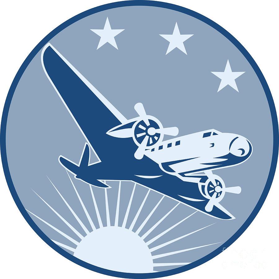 Vintage Propeller Airplane Retro Digital Art by Aloysius ...