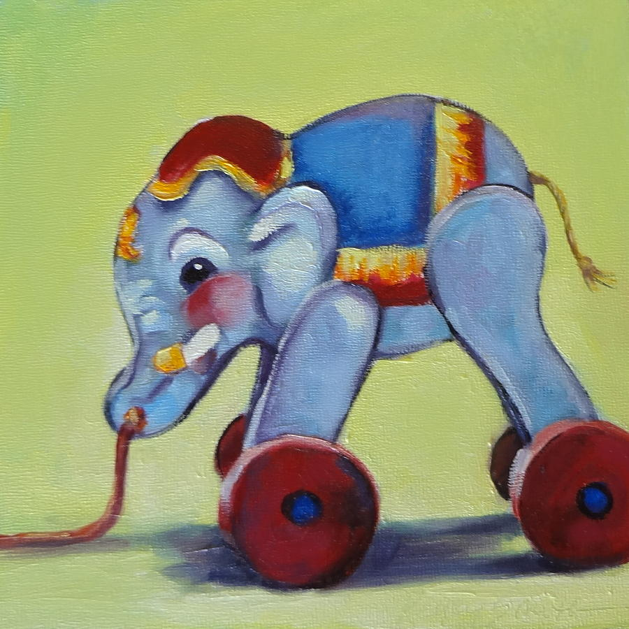 Vintage Toy Painting - Vintage Pull Toy Series Elephant by Kelley Smith