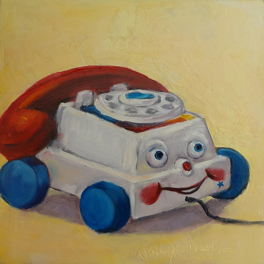 Toys For Painting : Vintage pull toy series phone painting by kelley smith