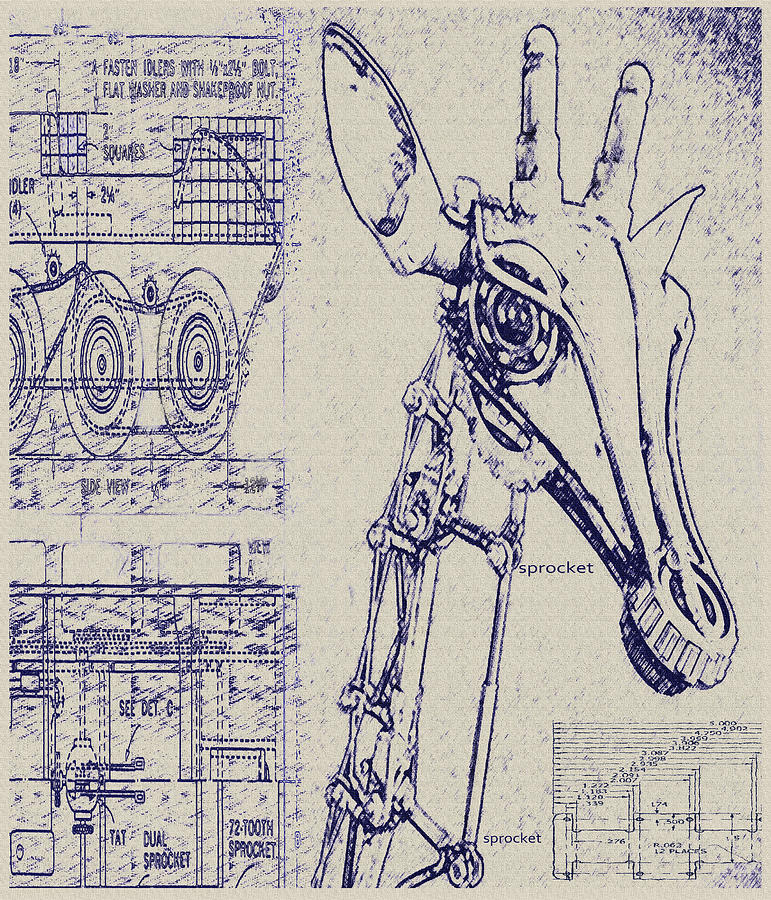 Vintage robot giraffe blueprint digital art by jane schnetlage steampunk digital art vintage robot giraffe blueprint by jane schnetlage malvernweather