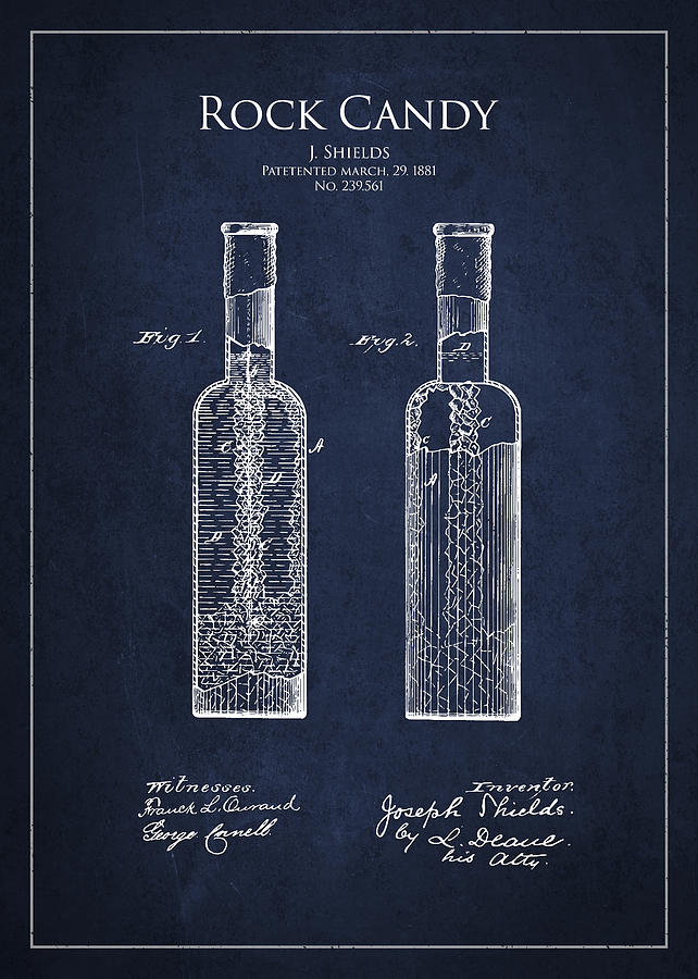 Candy Drawing - Vintage Rock Candy  Patent Drawing From 1881 by Aged Pixel