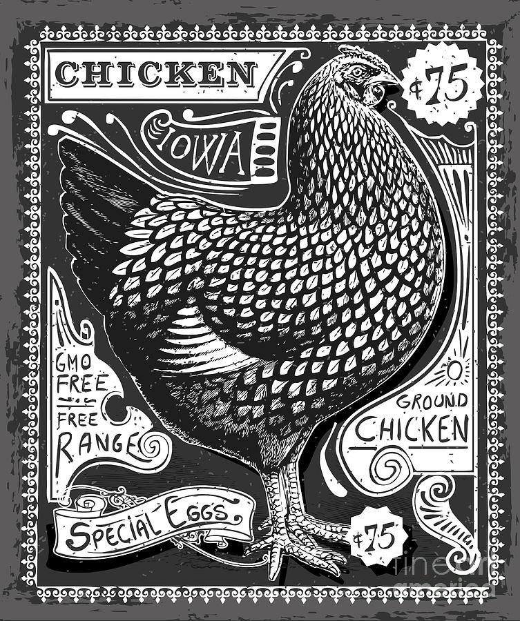 Butchery Digital Art - Vintage Rooster Poultry Butcher by Aurielaki