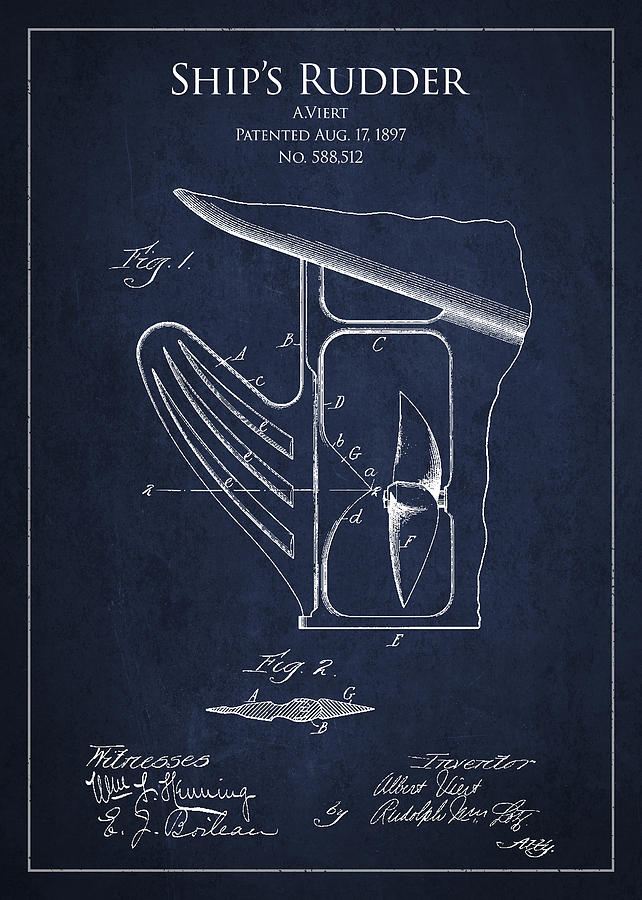 Rudder Drawing - Vintage Rudder Patent Drawing From 1887 by Aged Pixel