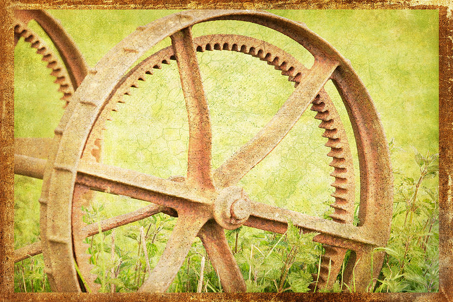 Rural; Farm; Machinery; Wheels; Grunge; Textured; Rust Photograph - Vintage Rusty Wheel by Lesley Rigg