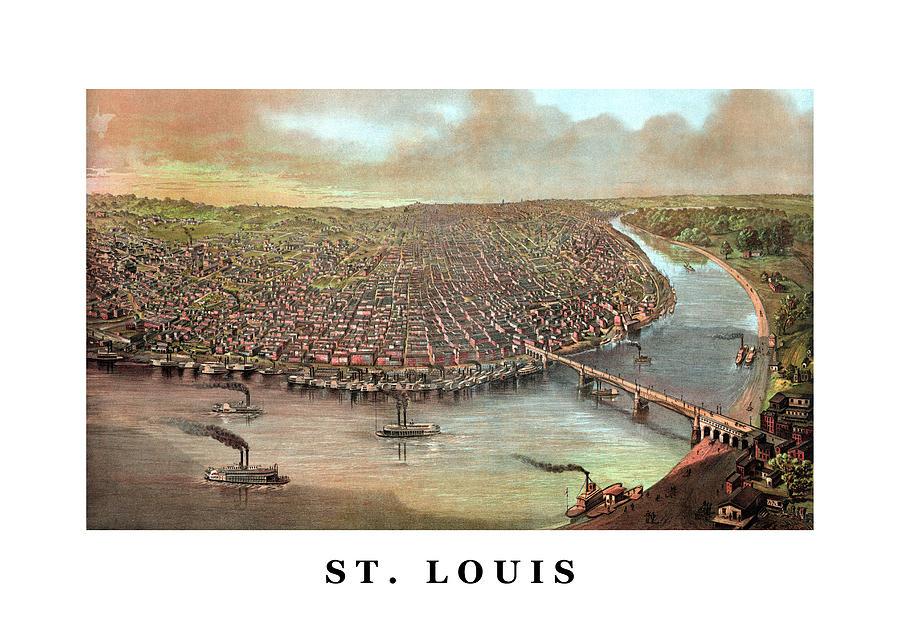 Saint Louis Painting - Vintage Saint Louis Missouri by War Is Hell Store