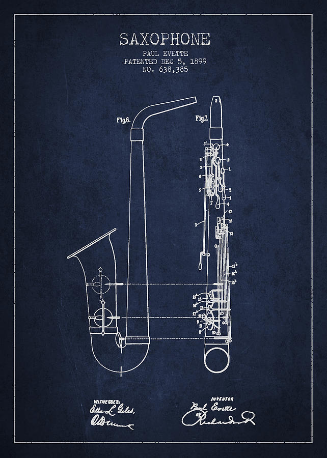 Saxophone Patent Drawing From 1899 - Blue Digital Art