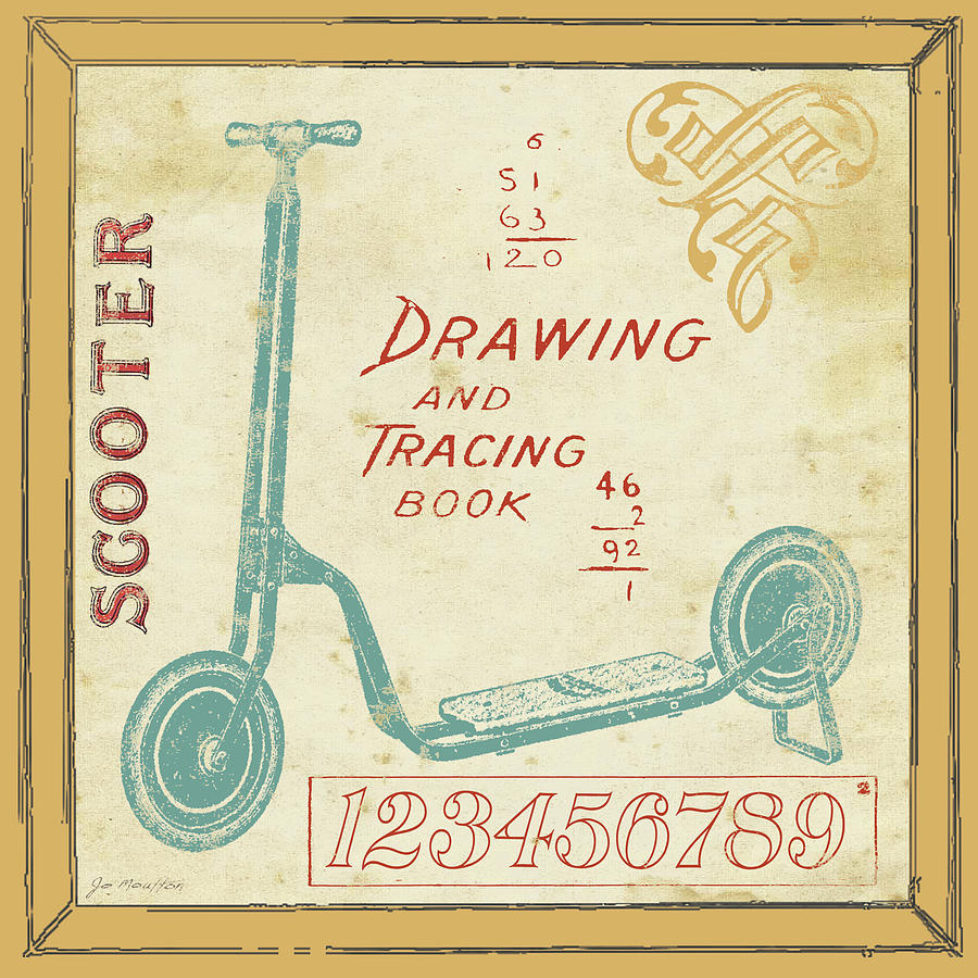 Kids Painting - Vintage Scooter by Jo Moulton