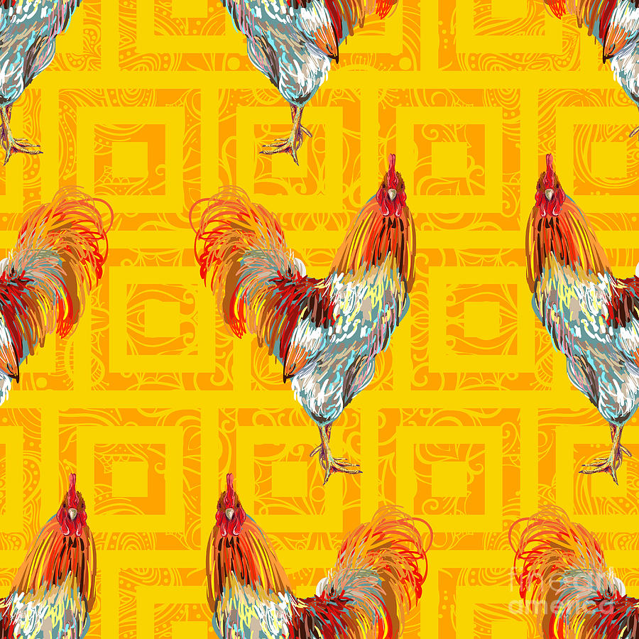 Decorate Digital Art - Vintage Seamless Pattern With Farm by Artskvortsova