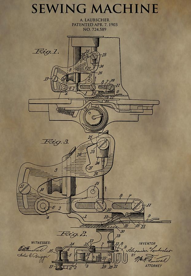 Vintage Sewing Machine Patent Drawing By Dan Sproul Interesting Patent For Sewing Machine