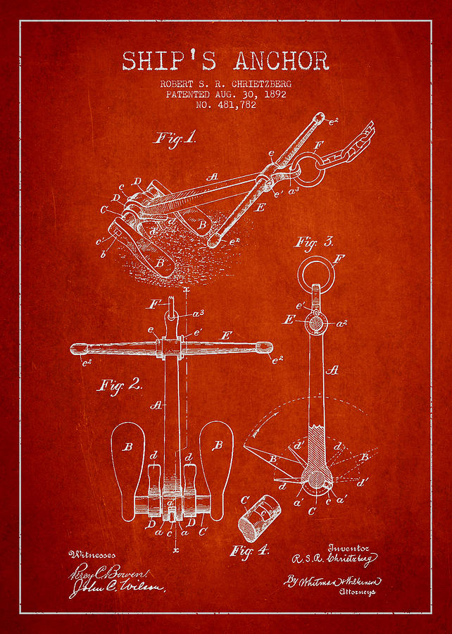 Anchor Drawing - Vintage Ship Anchor Patent From 1892 by Aged Pixel