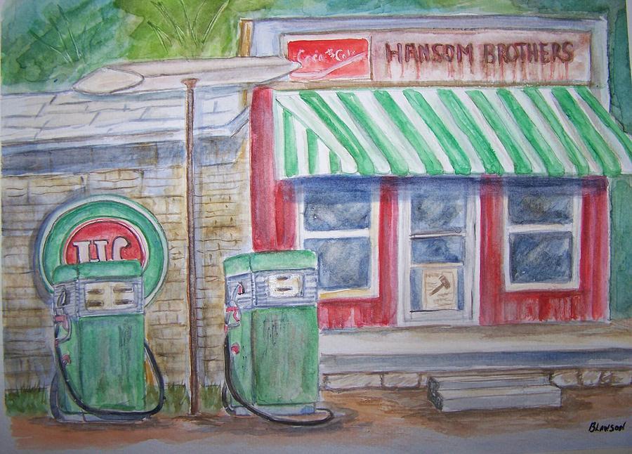 Vintage Painting - Vintage Sinclair Gas Station by Belinda Lawson