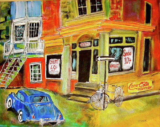 Cars Painting - Vintage Snack Bar by Michael Litvack
