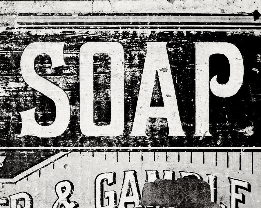 Black and white photograph vintage soap crate in black and white by lisa russo