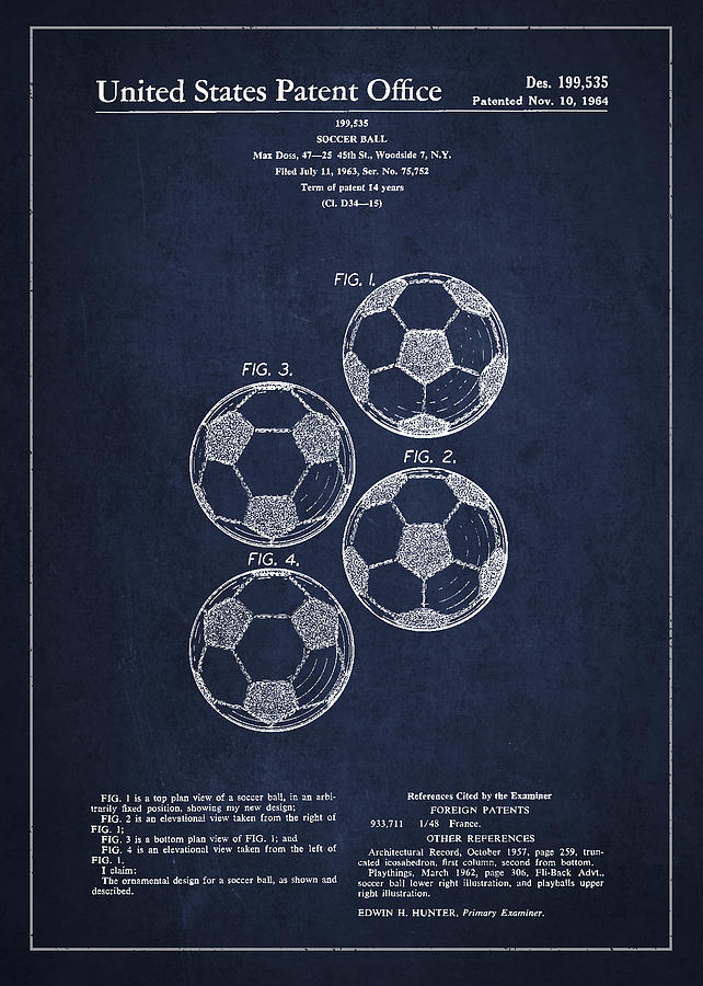vintage soccer ball patent drawing from 1964 digital art by aged pixel