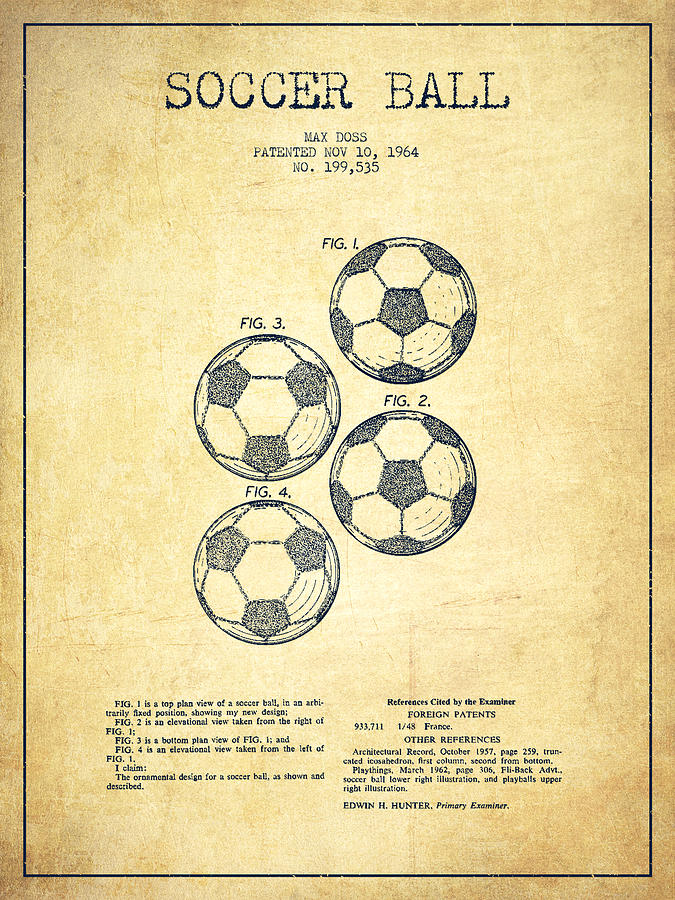 Vintage Soccer Ball Patent Drawing From 1964 - Vintage Digital Art