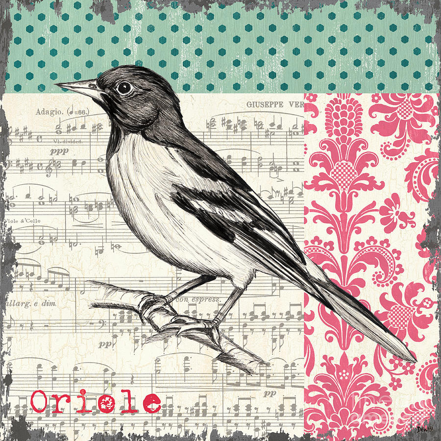 Bird Painting - Vintage Songbird 2 by Debbie DeWitt