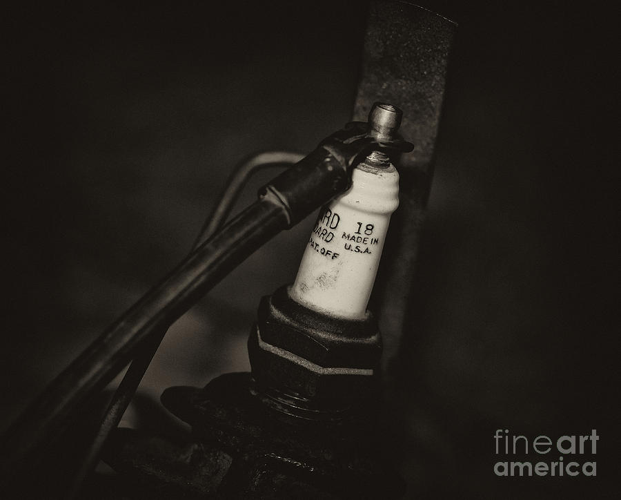 Motorcycle Spark Plugs Photograph - Vintage Spark Plug   4 by Wilma  Birdwell