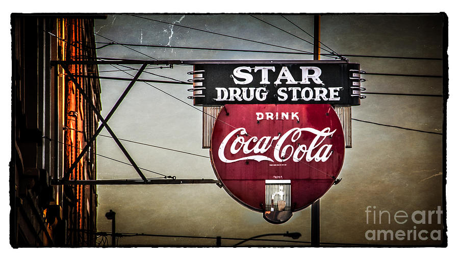 Sign Photograph - Vintage Star Drug Store by Perry Webster