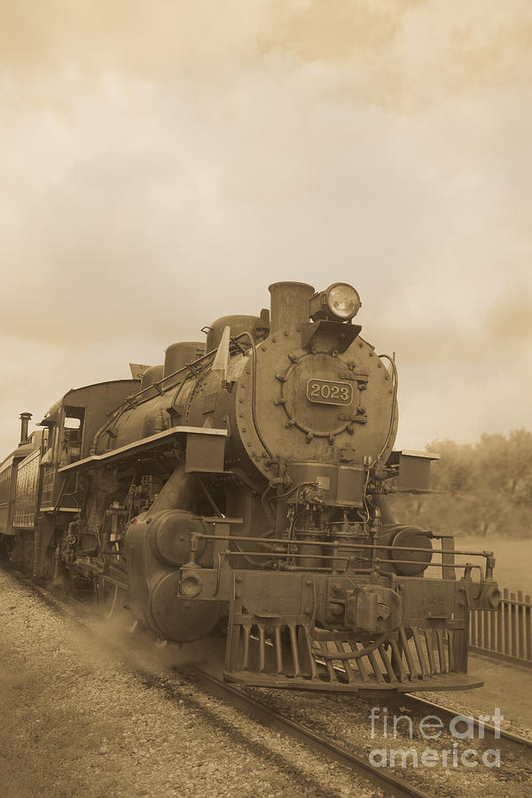 Train Photograph - Vintage Steam Locomotive by Edward Fielding