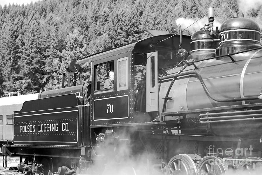 Vintage Steam Train B W