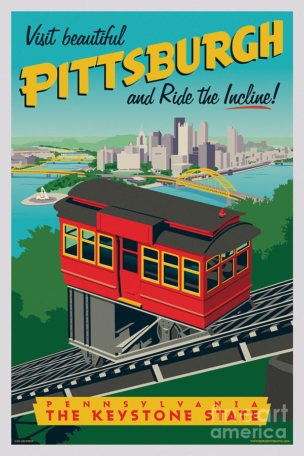 Pittsburgh Digital Art - Pittsburgh Poster - Incline by Jim Zahniser