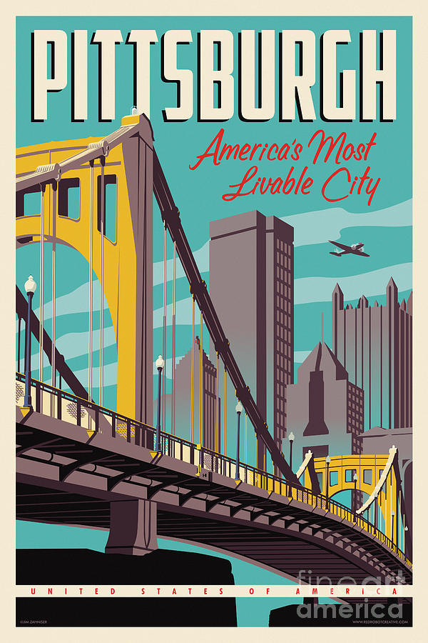 Vintage Style Pittsburgh Travel Poster Digital Art By Jim