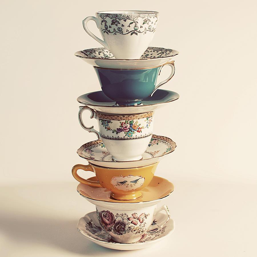Vintage Tea Cups Part - 29: Still Life Photograph - Vintage Tea Cup Stack Photo By Elle Moss