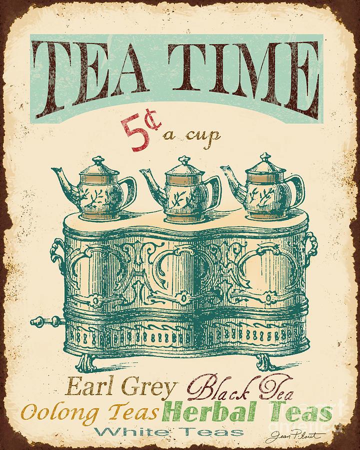 vintage tea time sign digital art by jean plout. Black Bedroom Furniture Sets. Home Design Ideas