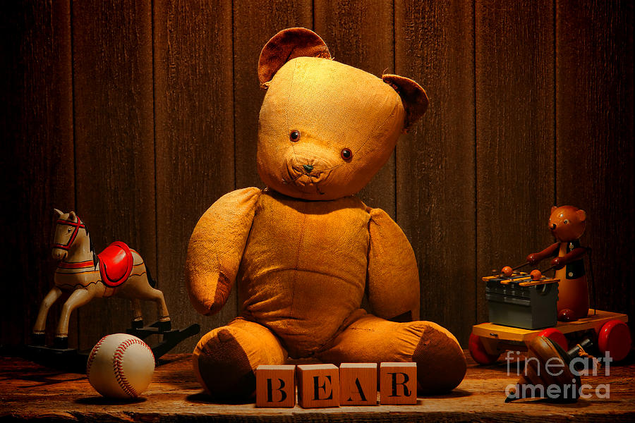 Bear Photograph - Vintage Teddy Bear And Toys by Olivier Le Queinec
