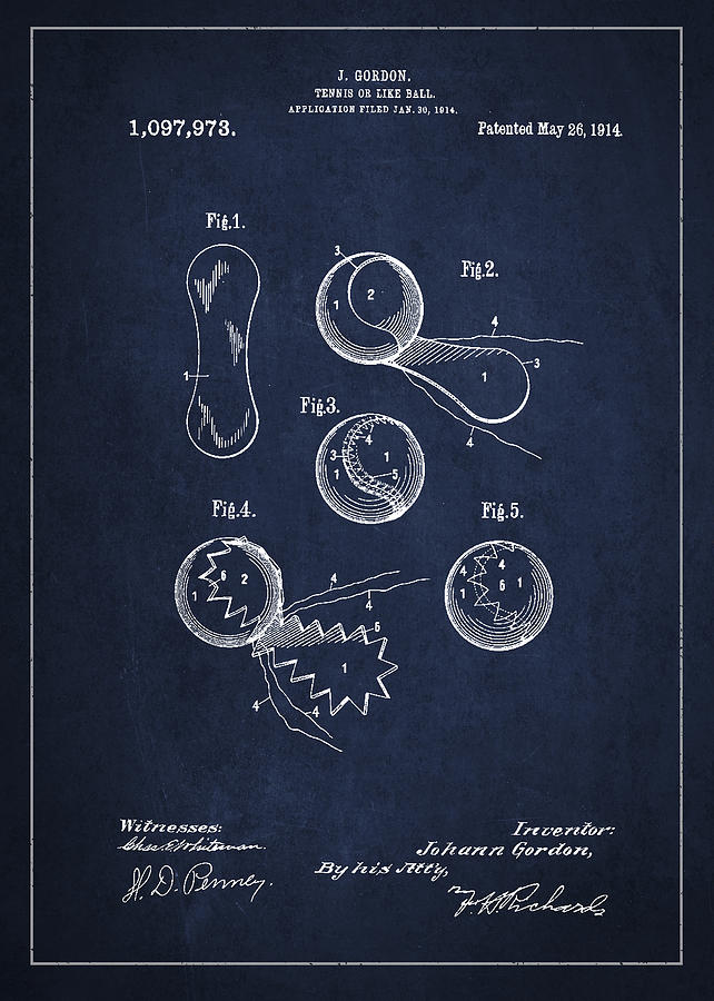 Vintage Tennis Ball Patent Drawing From 1914 Digital Art