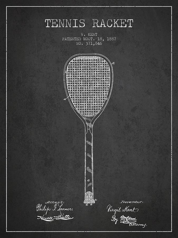 Vintage Tennnis Racket Patent Drawing From 1887-dark Digital Art